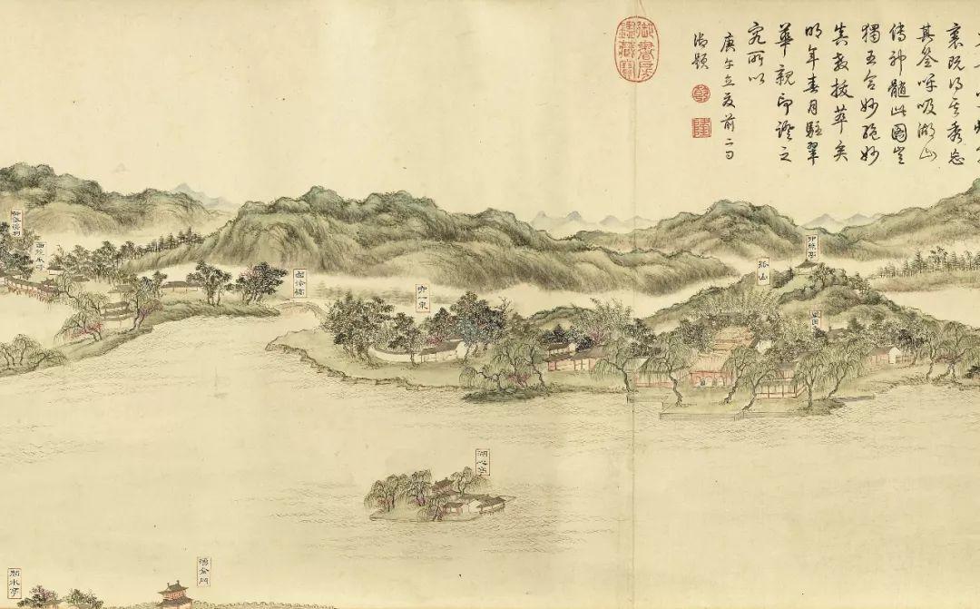 虽名为「十景」,画上却以隶书标注了西湖五十四处景点:断桥残雪,平湖图片