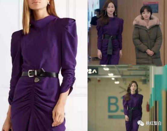 而深紫色的这条连身裙,还是独特的羊腿袖设计,配上腰带穿起来气场图片