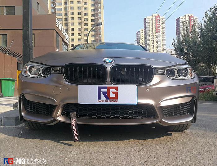 宝马3系车身改色贴膜电光战斗灰案例