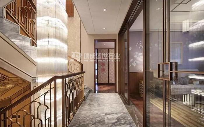 新中式别墅石材,挑高客厅背景墙,超大气