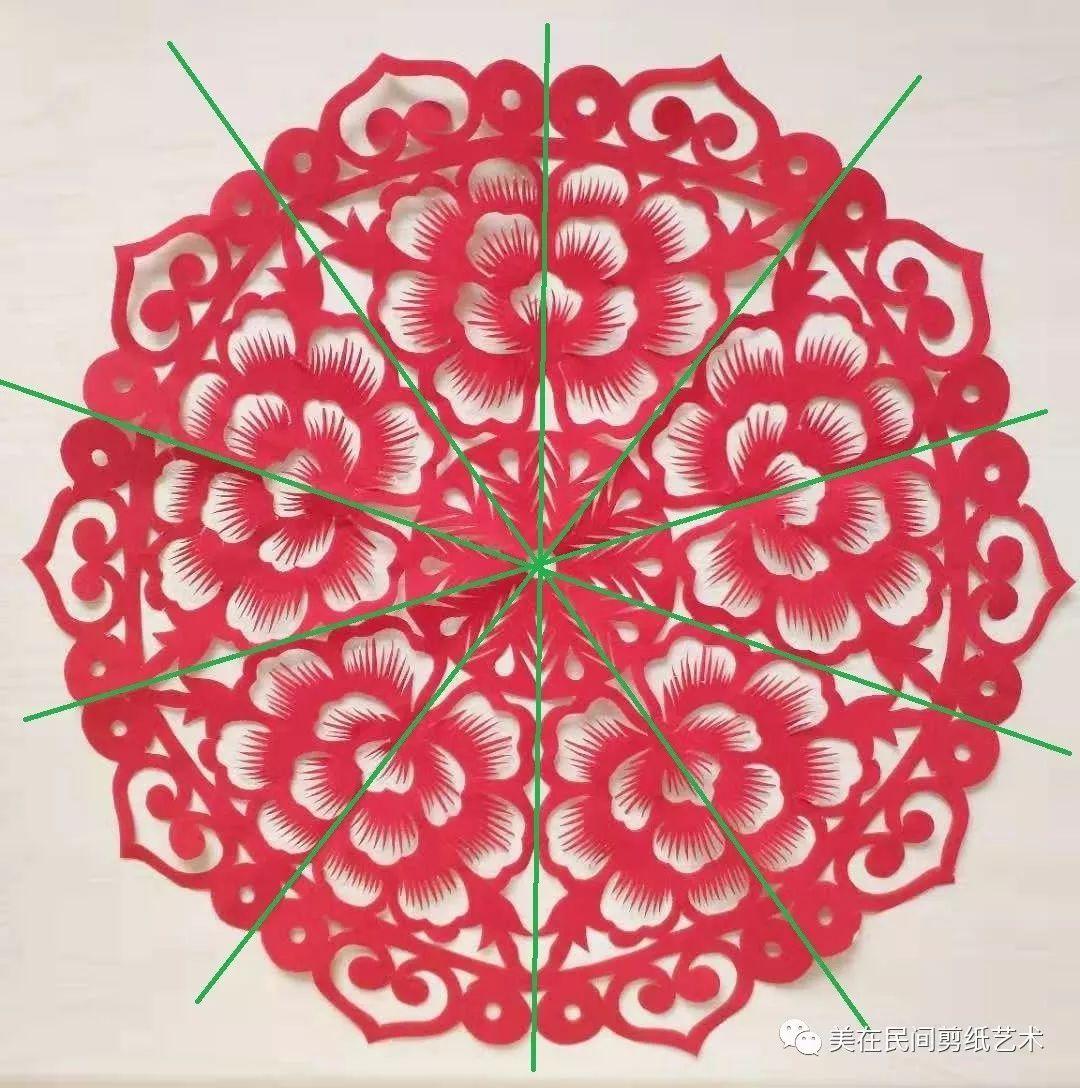 八折团花剪纸图案步骤