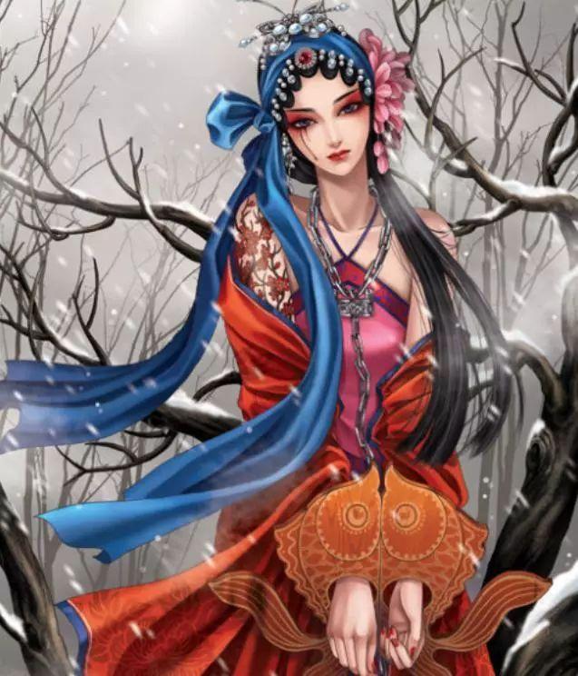 京剧古风手绘插画,花枝招展,楚楚动人的古风美人