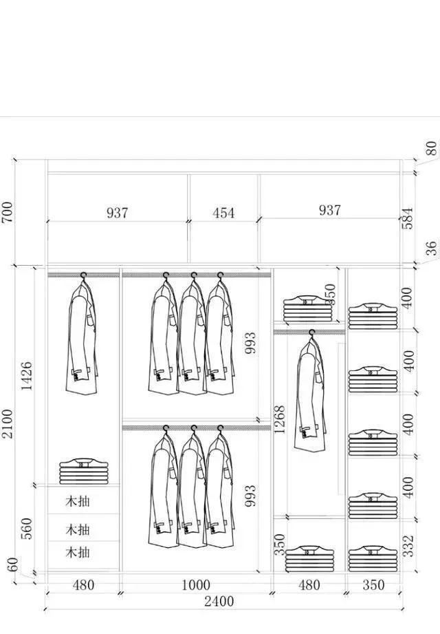 3m~2.7m之间的衣柜内部结构设计,希望能给大家做个参考. 1.3米