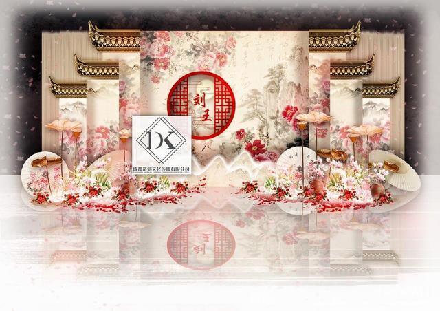 dodowed婚礼手绘推荐系列之dk婚礼手绘作品《淡雅新中式婚礼》