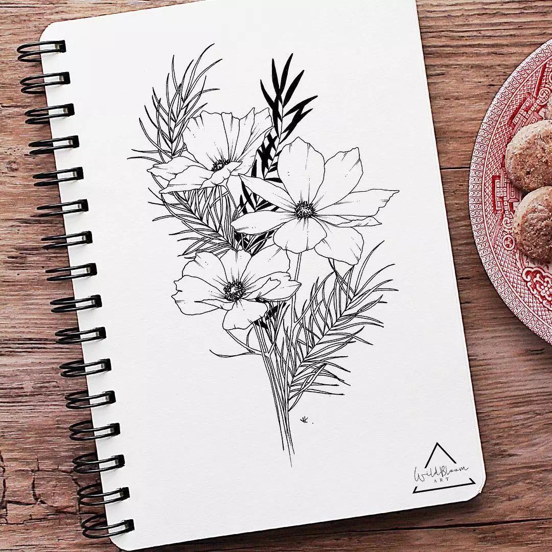 她的作品简单易学 初学者入手时 可以用铅笔起稿,再用针管笔画出轮廓