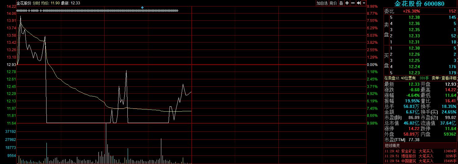 金花股份盘中异动,冲高后闪崩振幅近20%