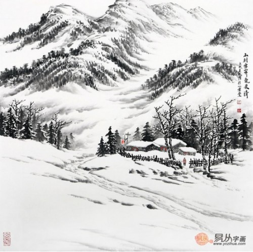 吴大恺雪景山水,鞠占圃桃花山水画欣赏图片