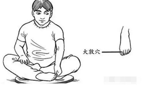 按法:盘腿坐好,以左手拇指按揉右脚此穴,顺着骨缝的间隙按压,并前后图片