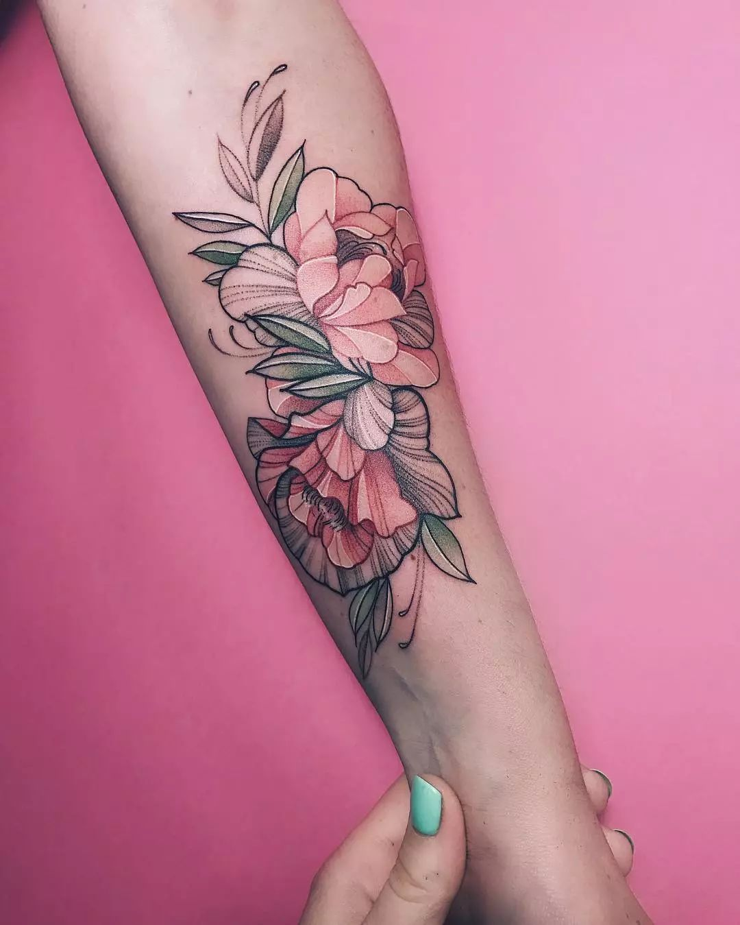 素花纹身变成粉色的,真不错图片