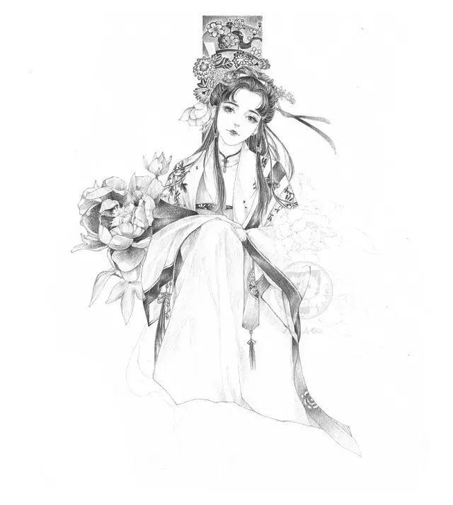 古风衣服手绘小花纹