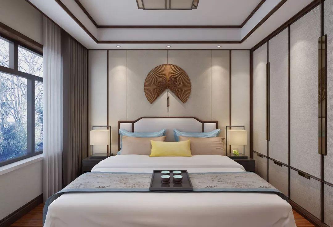 新中式卧室背景墙设计,耐看又有韵味,好喜欢!