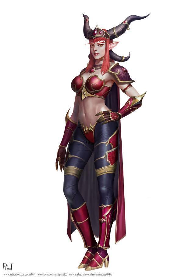 魔兽同人画作:红龙女王阿莱克斯塔萨 人形态全身像