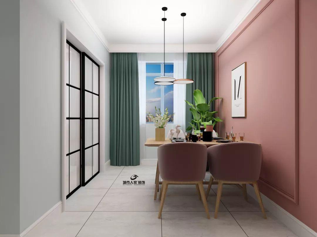 餐厅背景墙使用简单的石膏线造型,是北欧风格特有的朴素唯美特质