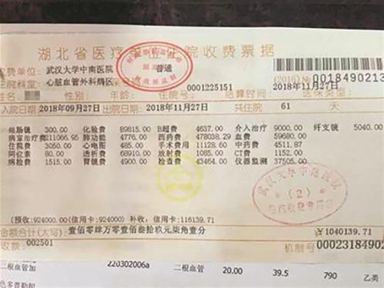 少什么别少钱,有什么别有病!武汉传出104万住院收据!