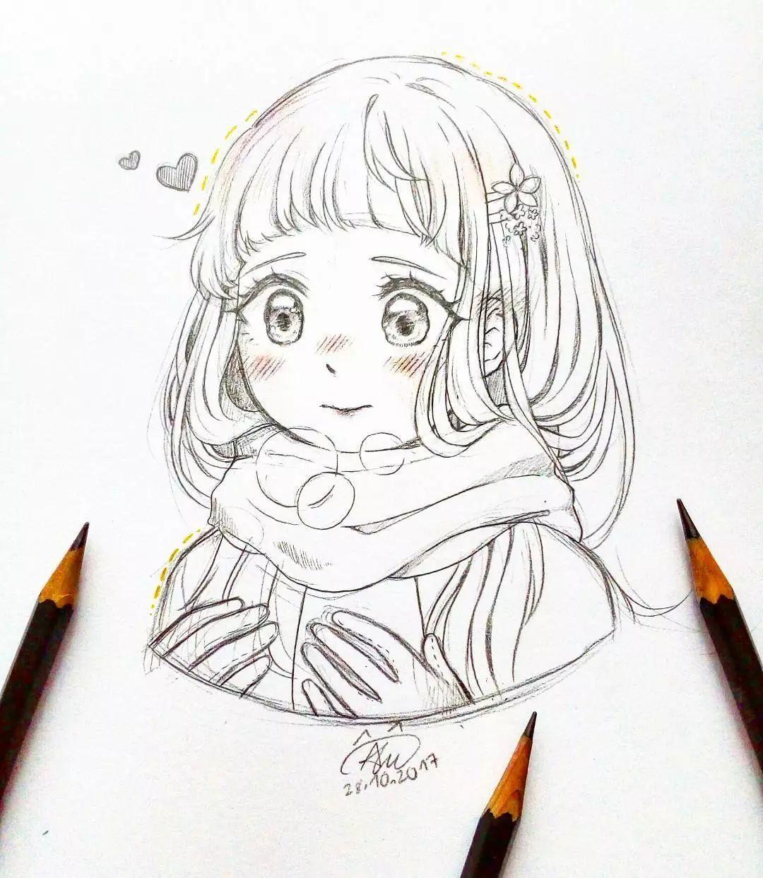 铅笔手绘小姐姐