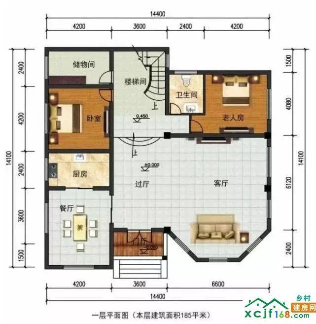 二层平面图:客厅是挑空的,配有一间主卧室,两个次卧室,还有外观景阳台