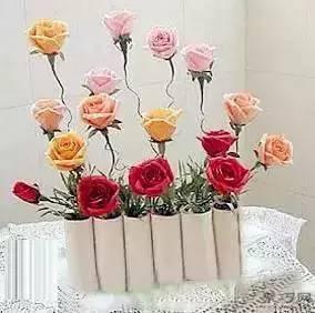卷纸筒变废为宝手工制作假花花瓶教程