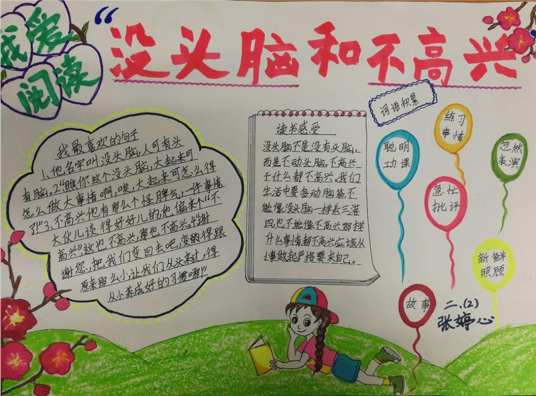 写阅读卡,积累好词好句 李萍老师还为孩子们 预热关 制作阅读手抄报图片
