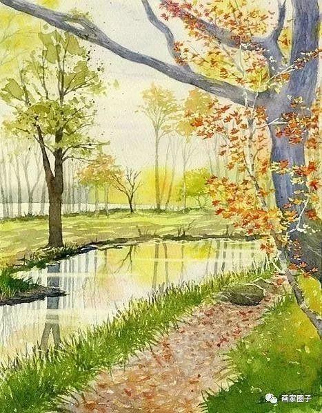 日本水彩自然风景画,淡雅的小清新