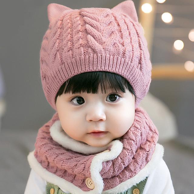 韩国条纹婴儿帽男女童针织帽毛线宝宝帽帽子,柔软面料,气质柔软,毛绒