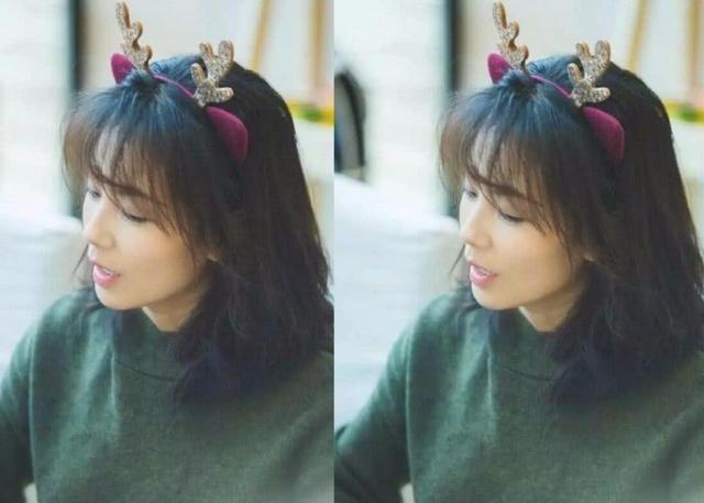 刘涛少女心爆棚,新发型配小鹿发卡,我也想过圣诞节了