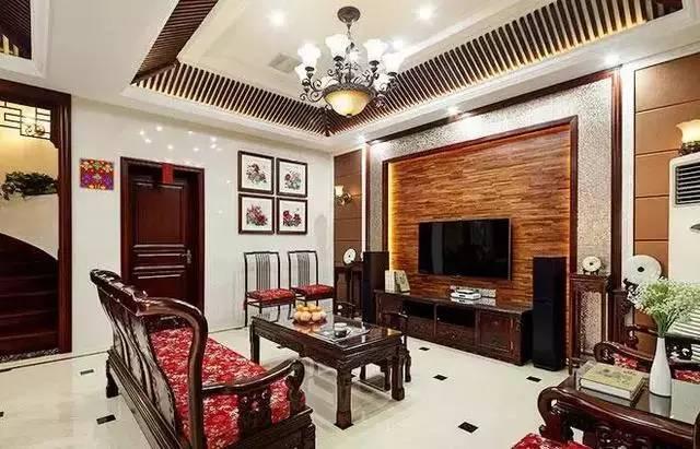 中式风格的客厅电视背景墙,应该怎么装修布置呢?-大果紫檀
