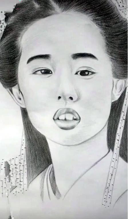 """00后美术生手绘古装美女,这个""""嘟嘟嘴"""",刘亦菲看到想打人"""
