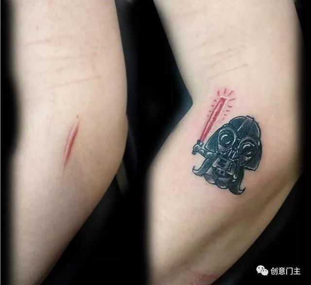 搞笑 正文  烫伤的疤痕的花朵纹身. 插画纹身. 鲨鱼完美的结合的疤痕.
