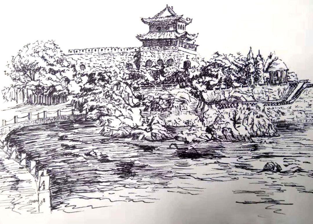 青岛商务学校18级环艺班素描作业 风景速写临摹作业展