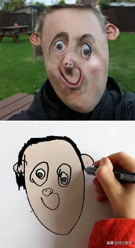 外国人老爸把儿子简笔画P成现实版,相似度可以说是百分之百 了