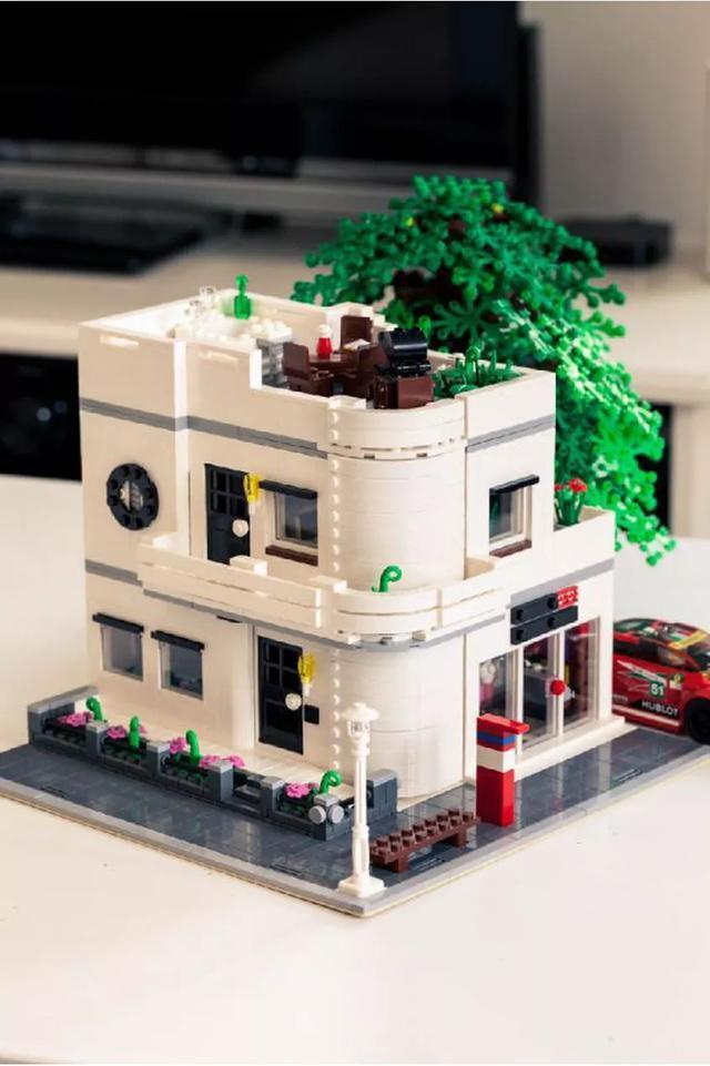lego乐高街景 白色咖啡馆moc图纸分享