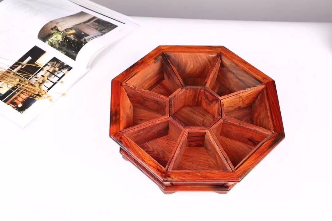 大红酸枝精品素面果盘(家用送礼有面子)-老挝红酸枝