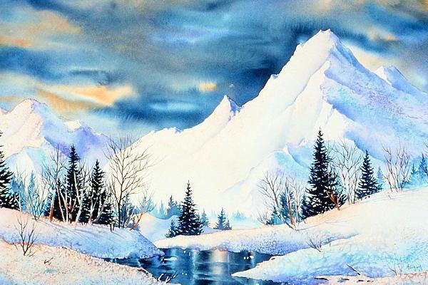 雪景水彩畫