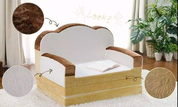 是纯手工制作的面包型沙发床.有蛋黄枕头还能加颗煎鸡蛋被子