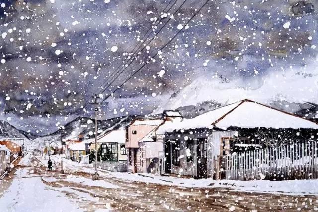 超美的雪景水彩畫,意境十足!