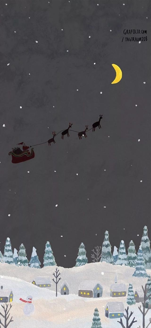 iPhone XR全面屏尺寸手机壁纸 简洁干净系列 下雪天 圣诞风