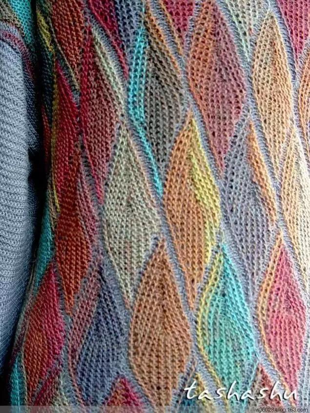 分享一款美丽的树叶棒针织法教程,简单实用,编织毛衣可好看了