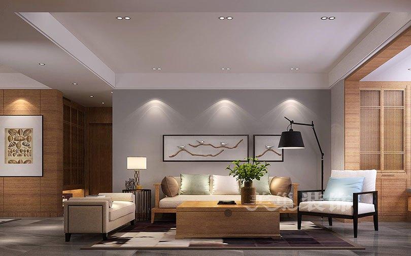 普罗理想国180平四室两厅装修现代简约效果图——客厅沙发背景墙