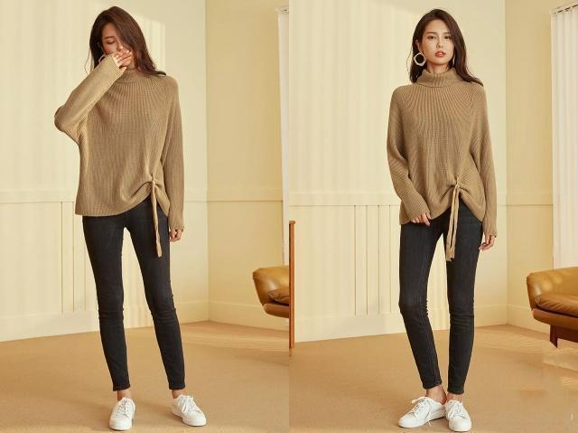 今年流行大毛衣配紧身裤,学这5种穿法好看太多了!