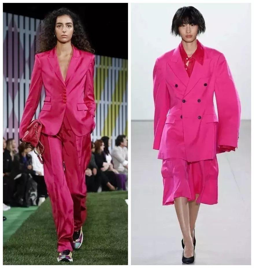 艾斯曼说,这种色调和同样强烈的粉色在最近几季的男女服装系列中越来