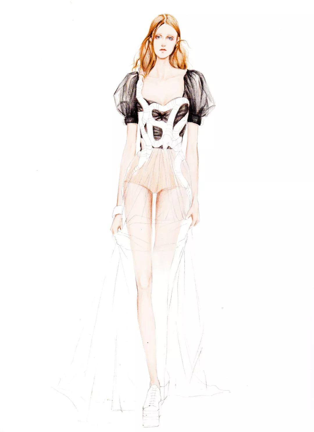 表现纱的肌理效果 0 1 手绘步骤图-人体动态  0 2 薄纱面料上色过程