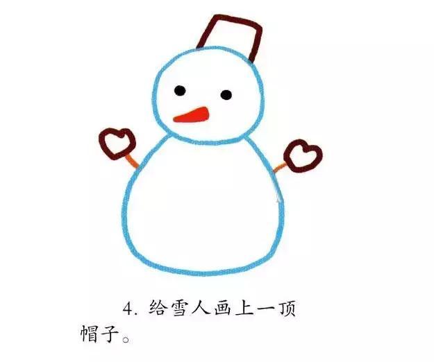 雪人怎么画 冬天的雪人简笔画绘画教程图解步骤