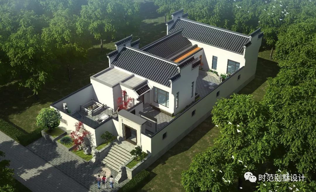 中式别墅配前庭后院,美到了我的心坎里,多少人梦寐以求的家