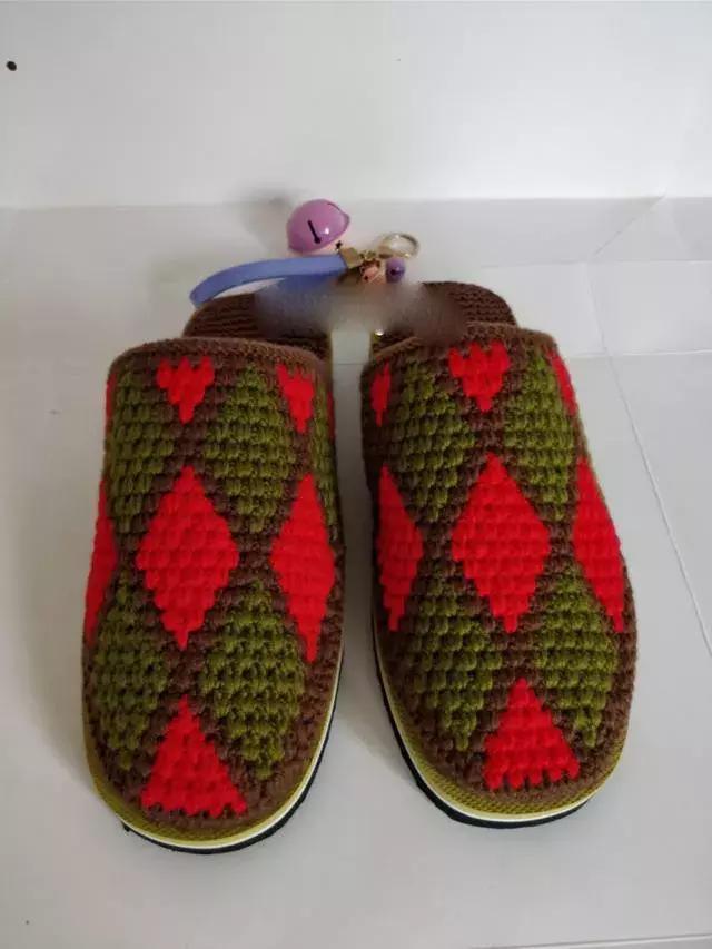 棒针织棉鞋,附图文教程~毛线编织棉拖鞋