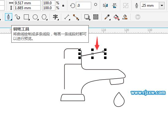 CDRX8绘制水龙头简笔画教程