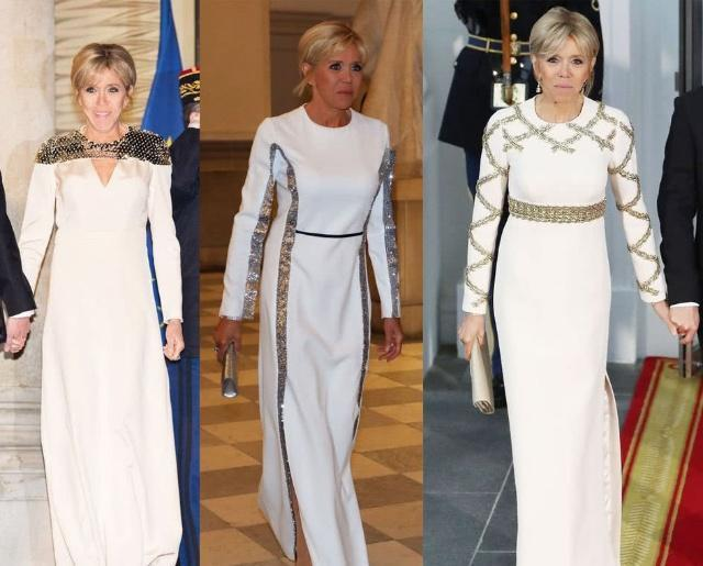 马克龙夫人放弃白裙,改穿经典黑,却被比利时王后一字肩碾压