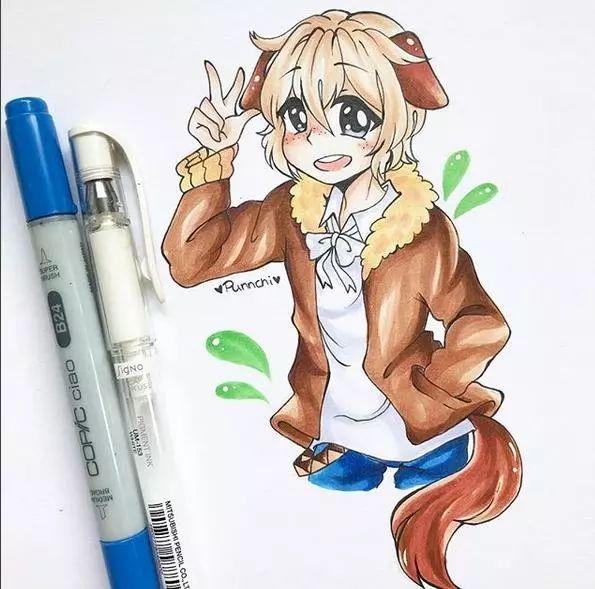 可爱q版动漫人物马克笔手绘,你认识几个?