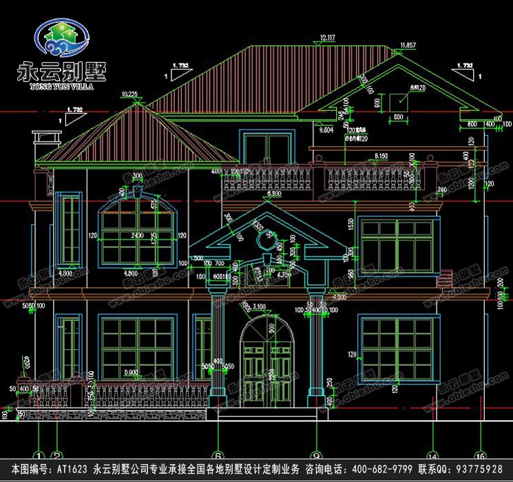 开间15米别墅设计图,有庭院就是霸气