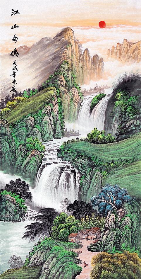 走廊装饰画挂什么 精品国画山水装饰美景独特