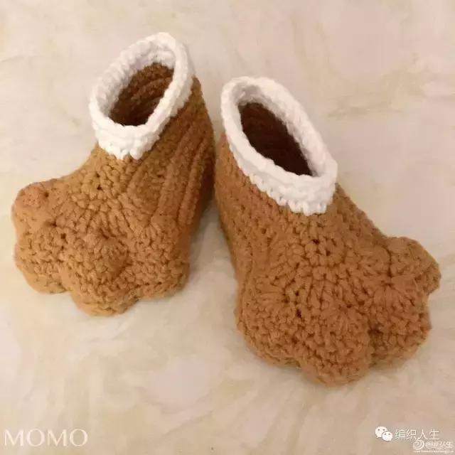 简单又可爱,呆萌的钩针熊掌宝宝鞋(附图解)